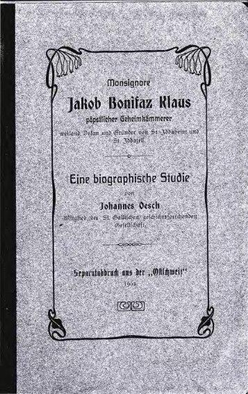 (SG) und St.Iddazell Fischingen (TG), Monsignore Jakob