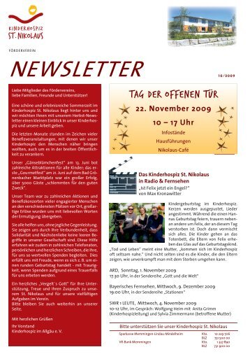 Newsletter 10/2009 als PDF-Dokument - Kinderhospiz St. Nikolaus