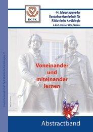 Abstraktband als pdf - DGPK-Deutsche Gesellschaft für Pädiatrische ...