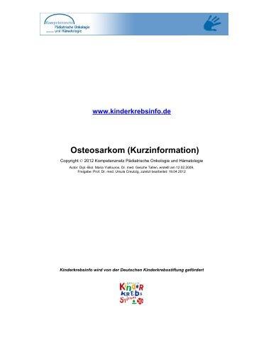 Osteosarkom (Kurzinformation) - Kinderkrebsstiftung