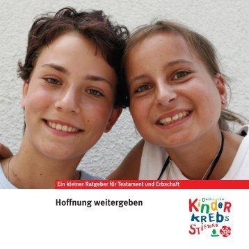Hoffnung weitergeben - Kinderkrebsstiftung