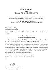 Einladung und Call for Abstracts - Kinderkrebsstiftung