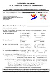 Anmeldeformular - Kinderkrebsstiftung