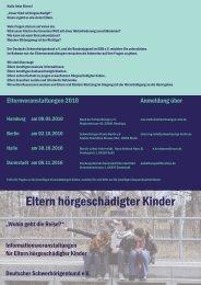 DSB projekt 2010 flyer eltern hörgeschädigter kinder.indd