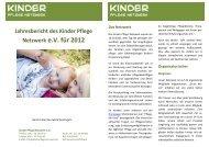 Unser Tätigkeitsbericht für das Jahr 2012 - Kinder Pflege Netzwerk