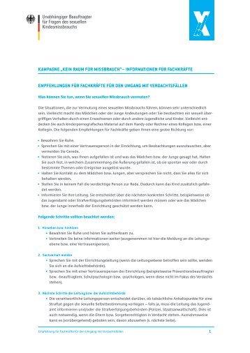Empfehlungen für Fachkräfte für den Umgang mit Verdachtsfällen