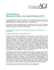 Ausschreibung Deutscher Kinder- und Jugendhilfepreis 2012