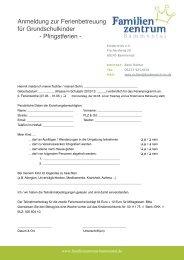 Anmeldung zur Ferienbetreuung für Grundschulkinder - Pfingstferien -