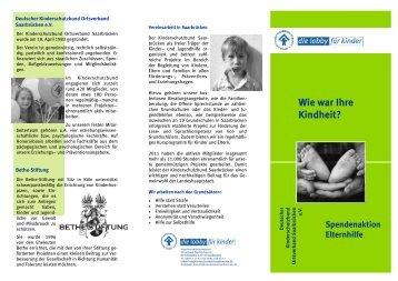 Spendenaktion Elternhilfe - Kinderschutzbund