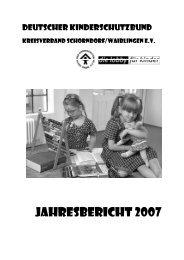 Jahresbericht 2007 - Deutscher Kinderschutzbund Schorndorf ...