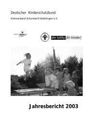 Jahresbericht 2003 - Deutscher Kinderschutzbund Schorndorf ...