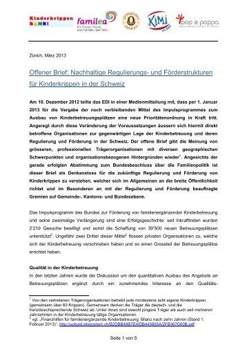 Offener Brief Frühkindliche Bildung In Der Schweiz