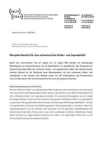 Übergabe Manifest für eine schweizerische Kinder- und Jugendpolitik