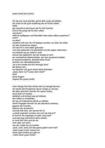 quasi modo lost control ich rap aus zwei gründen gerne über quasi ...