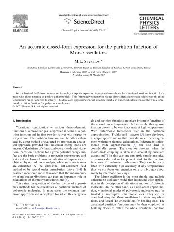 An accurate closed-form expression for the partition function of ...