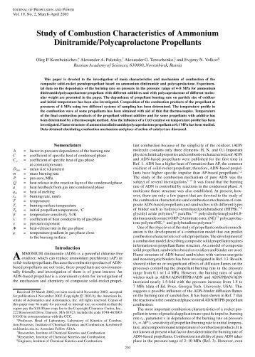 Study of Combustion Characteristics of Ammonium Dinitramide ...
