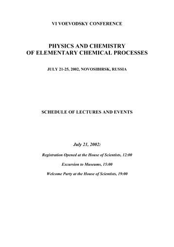 physics and chemistry of elementary chemical processes