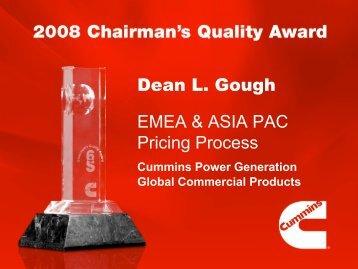 Dean L. Gough EMEA & ASIA PAC Pricing Process - Cummins