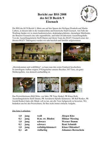 Bericht zur BSS 2008 des KCD Bezirk 9 Eisenach - King-Club ...