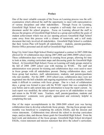 Greenfield High School WASC Report - King City Union School District