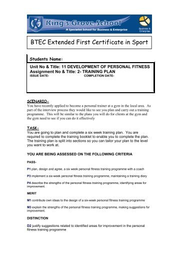 BTEC Extended First Certificate in Sport - kings-grove.cheshire.sch.uk