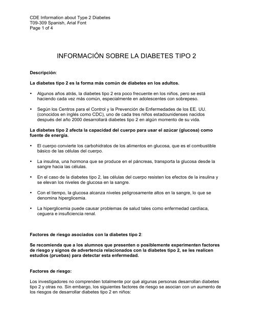 descripción de diabetes tipo 1 y 2