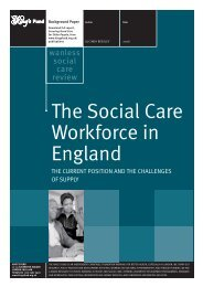 The Social Care Workforce in England Derek ... - The King's Fund