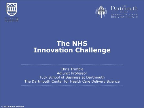 Chris Trimble: The NHS innovation challenge