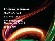 Engaging for success: better outcomes, better ... - The King's Fund