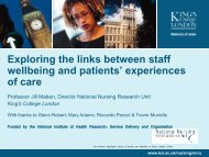 Exploring the links between staff wellbeing and ... - The King's Fund