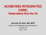 Achieving integrated care: Observations from the ... - The King's Fund