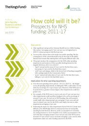 How Cold Will It Be? Prospects for NHS funding ... - The King's Fund