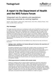 Integrated care for patients and populations - The King's Fund