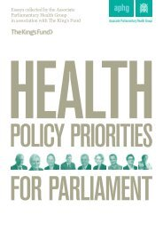 Health policy priorities for parliament - Associate ... - The King's Fund