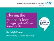 Closing the feedback loop: To support patient ... - The King's Fund