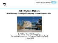 Why culture matters: the leadership challenge to ... - The King's Fund