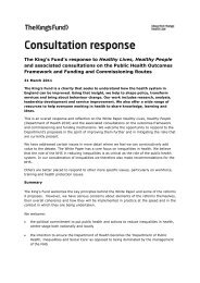 Consultation response to Healthy Lives, Healthy ... - The King's Fund