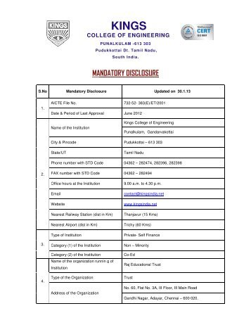mandatory disc mandatory disclosure - Kings College of Engineering