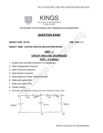 ee1152-electric circuits and electron devices - Kings College of ...