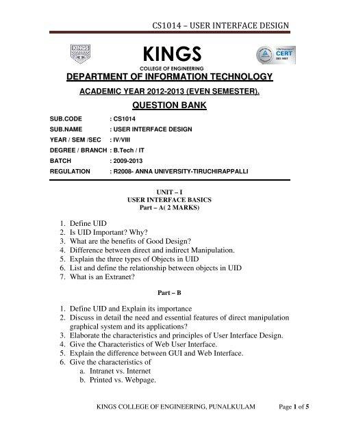 Cs1014 Kings College Of Engineering