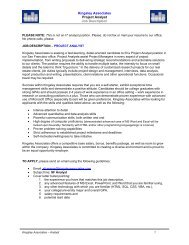 Kingsley Associates Project Analyst Job Description
