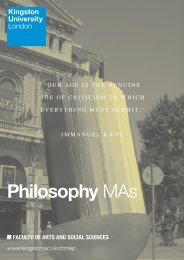 Philosophy MAs - Kingston University