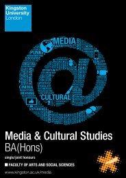 MEDIA AND CULTURAL STUDIES - Kingston University