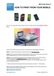 HOW TO PRINT FROM YOUR MOBILE - Kingston University