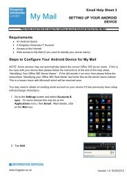 Setting up your Android Device - Kingston University