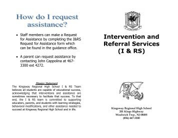 Intervention and Referral Services Pamphlet - Kingsway Regional ...