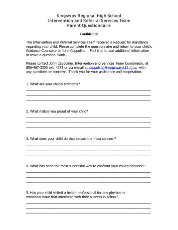 I&RS Parent Questionnaire - Kingsway Regional School District