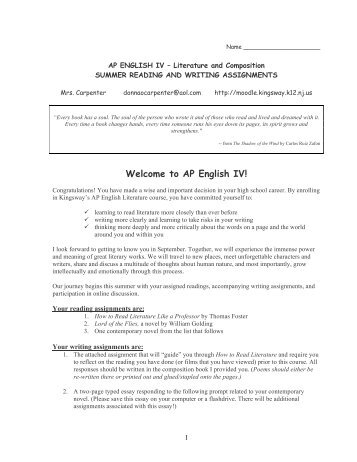 Advanced Placement English IV- Literature and Composition