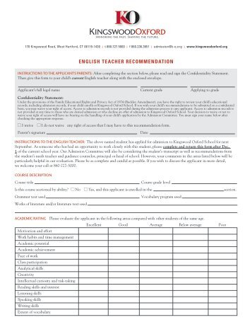 English Teacher Recommendation Form - Kingswood Oxford School