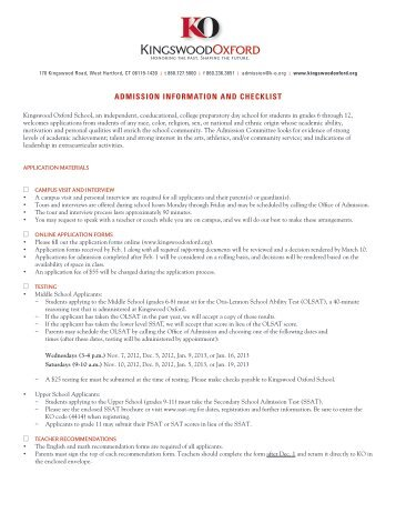 Admission Information and Checklist - Kingswood Oxford School